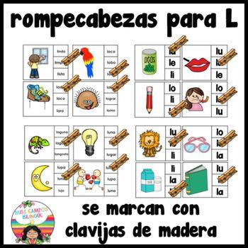 Trabajos para el sonido de la letra L y las silabas la, le, li, lo, lu. Se incluye juegos del alfabeto en color para el sonido y barajas de vocabulario en color para imprimir en case. muy util en preescolar y kinder bilingue.