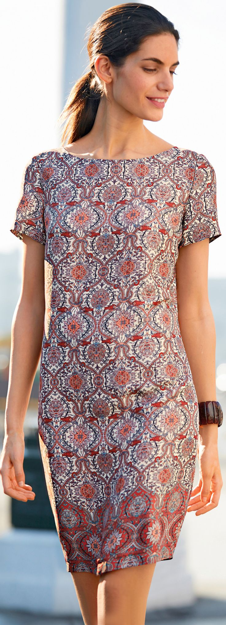 Even the French are loving Moroccan tile prints - http://www.boomerinas.com/2015/05/14/moroccan-tile-print-maxi-dresses-tunics-for-women-over-40-50-60/