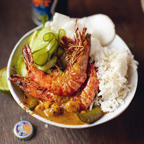 Thaise rode curry met garnalen.... een favoriet hier in huis!