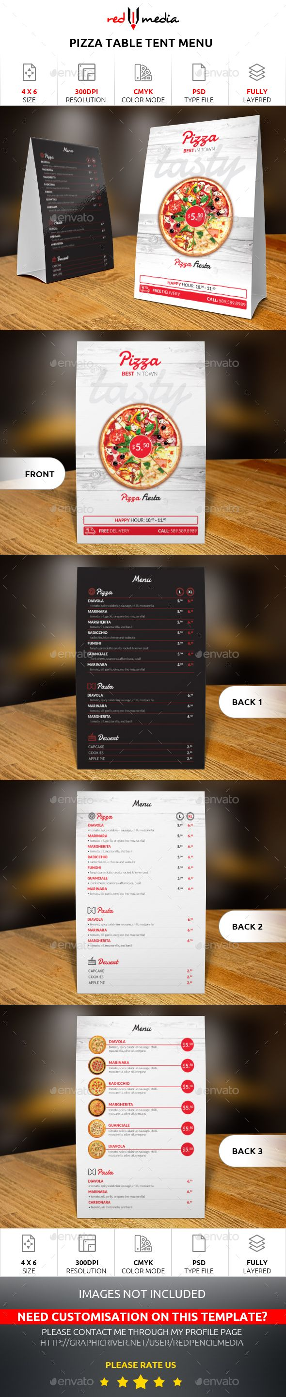 Pizza Table Tent Menu Design Template  - Food Menus Print Design Templates PSD. Download here: https://graphicriver.net/item/pizza-table-tent-menu/19330387?ref=yinkira