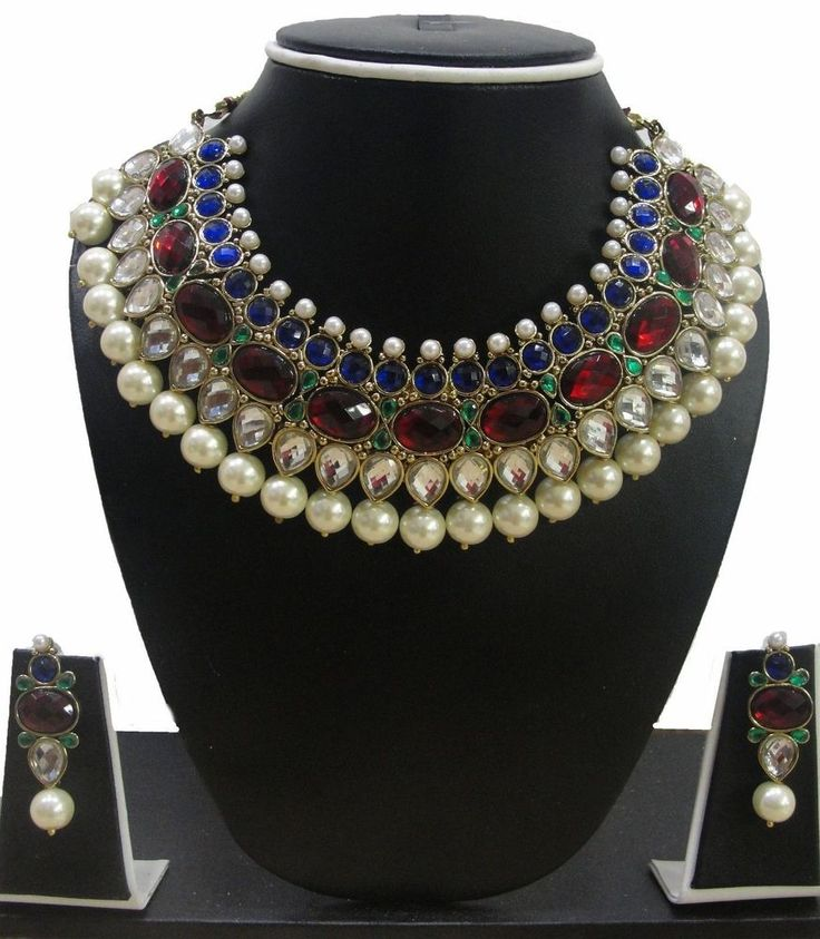 Turkish Ottoman Hurrem Roxelana Sultan Ruby Saphire Necklace Earring Jewelry Set