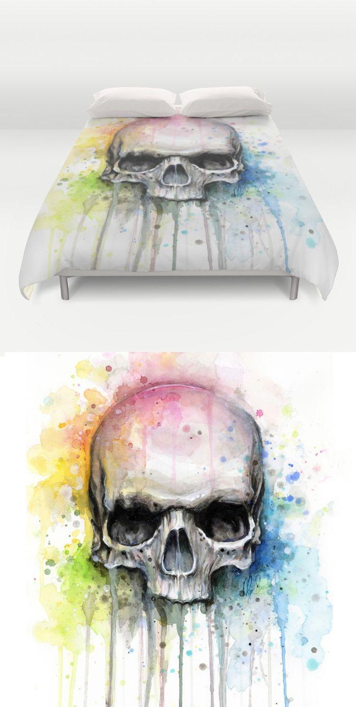 watercolor skull duvet