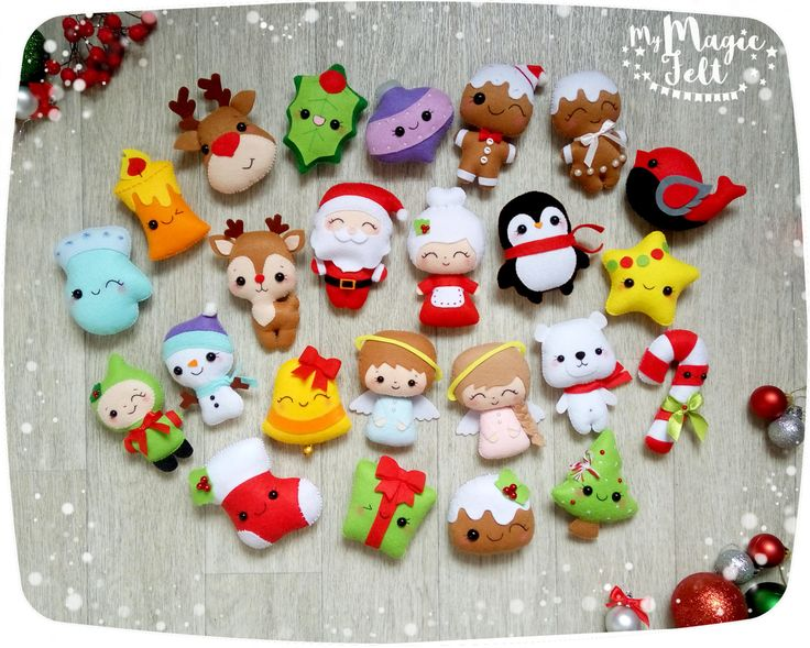 Christmas ornaments felt SET of 24 ornament Christmas felt Decor Big set cute Christmas tree ornaments Reindeer felt Gingerbread Santa by MyMagicFelt on Etsy
