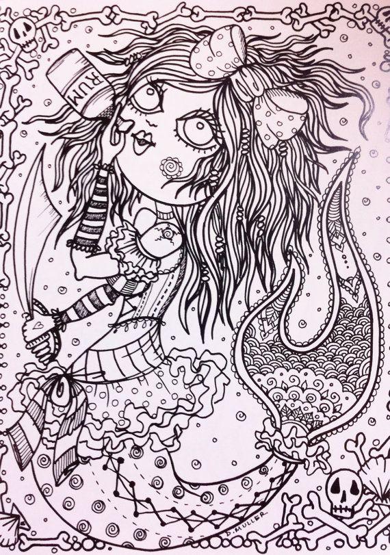 Naughty Pirate Mermaids Coloring Book Page Mermaid Meerjungfrau Sirene Sirena