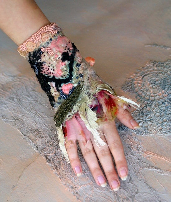 Untamed, bold wrist wrap gauntlet from vintage and antique laces, hand embroidery, beading,shabby chic