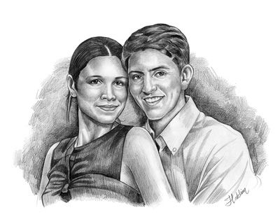 Pencil sketch art from a photo examples with couples very popular as a wedding