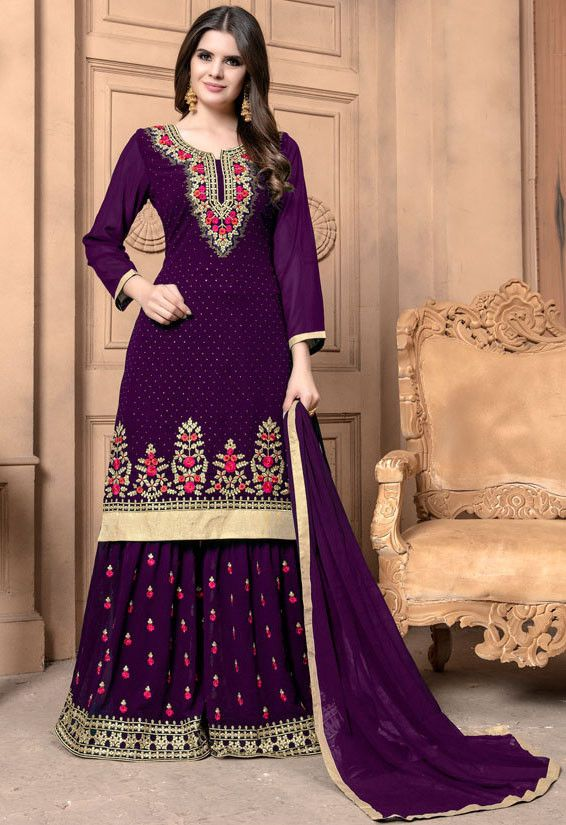 Plum Heavy Embroidered Sarara Kameez - Salwar Kameez - Women