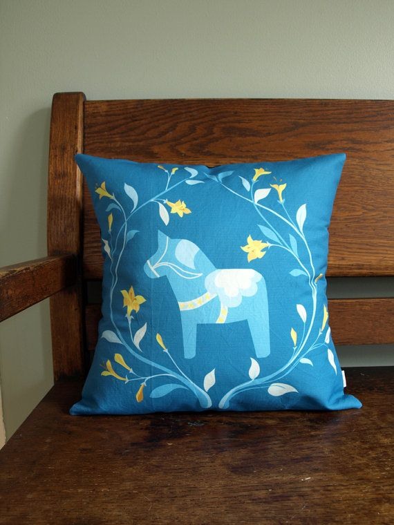 Swedish Dala Horse and Floral Wreath Pillow Cover in Turquoise 16x16 on Etsy, $58.00