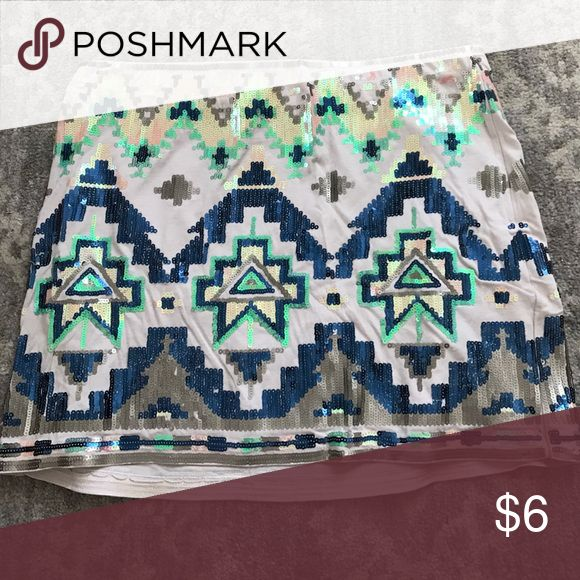 Stretchy express mini skirt Aztec sequin skirt. Stretchy and super comfortable! Express Skirts Mini