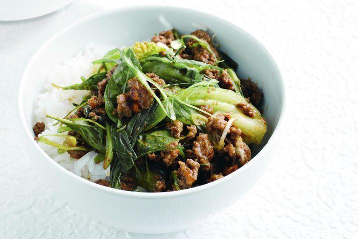 Red curry beef & bok choy stir-fry