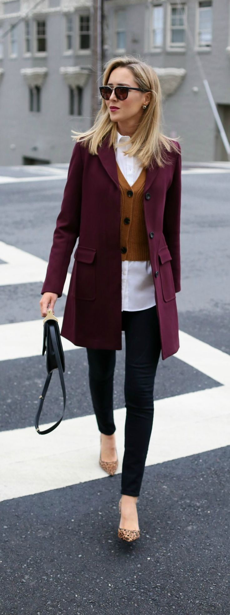 Knit mustard yellow sweater, burgundy coat, black skinny jeans and leopard pointy toe pump. Love this color combo!