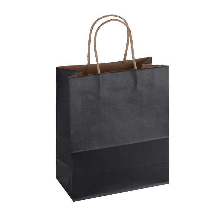 Paper Bag Medium Tall 210w x 110d x 270h Black pack 100 - Surestyle Limited