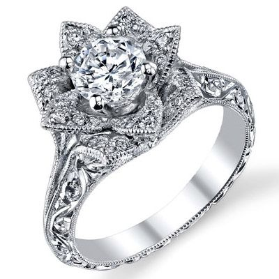 our lotus flower engagement rings mimic the very nature of the lotus each ring like the actual lotus flower itself has petals that sit higher - Lotus Wedding Ring