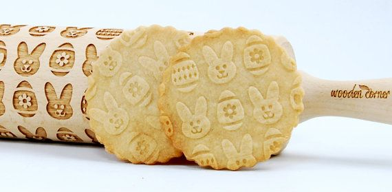 Easter bunny Easter eggs embossing rolling pin by ArtWoodenCorner