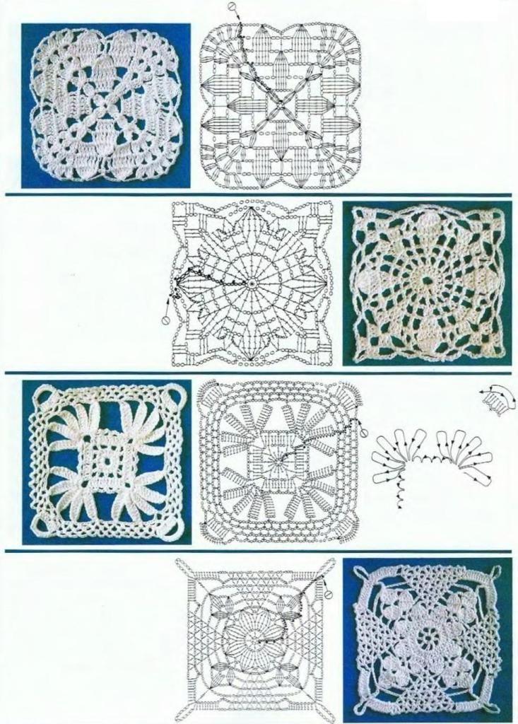 Página con muchos esquemas de motivos calados - Page with a lot of schemes lace motifs