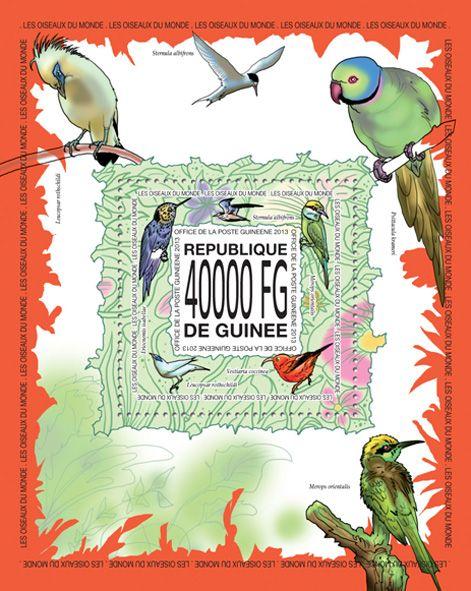GU 13520 bBirds, (Sternula albifrons, Merops orientalis, Vestiaria coccinea, Leucopsar rothschildi, Eriocnemis isabellae).