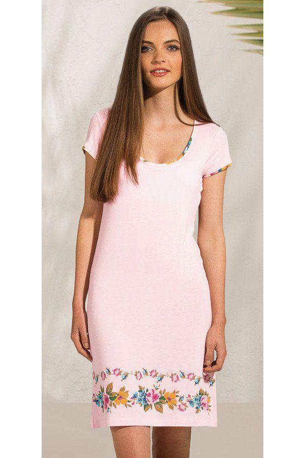 """Nachthemd - """"Fiona"""", rosa mit Blumenmotiv"""