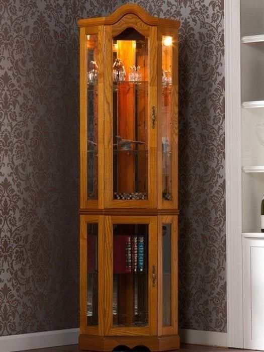 Classic Five-Shelf Corner Display Cabinet With Lighting Golden Oak Finish New #displaycabinet