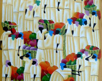 Arte haitiano pintura haitiana arte de la lona por TropicAccents