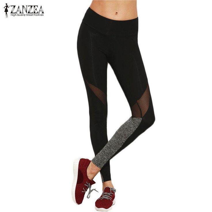 ZANZEA 2017 Women Casual Plain Color Block Yoga Leggings Spring Fitness Elastic Waist Mesh Reveal Leggings S- 5XL