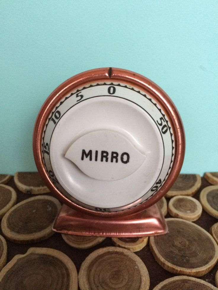 Mirro Anodized Aluminum Kitchen Timer - Copper Black and White - Atomic Midcentury Modern Vintage Kitchen Tools by 20thCKitchenAndTable on Etsy