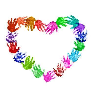 Oi gente!!! Este coração feito com carimbo das mãozinhas não está lindo??? Esta sugestão de atividade é perfeita para painéis ou para trabalhar em cartões artesanais para o Dia das Mães ou para estampar camisetas. Usando a mesma técnica você pode fazer corações variados. Com os dedinhos pra cima… Com os dedinhos pra baixo, achei …