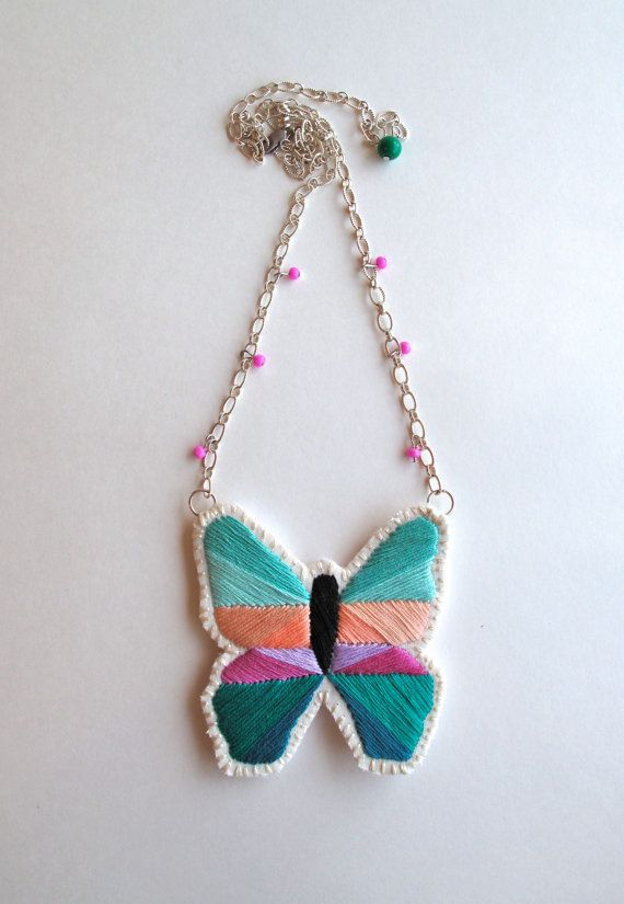 Geometric butterfly necklace hand embroidered by AnAstridEndeavor