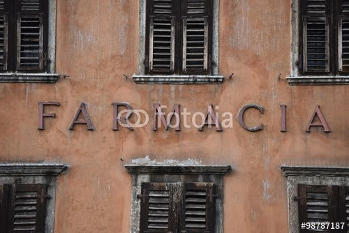 "Download the royalty-free photo ""Farmacia, Pharmacy inscription on an old facade"" created by Ciaobucarest at the lowest price on Fotolia.com. Browse our cheap image bank online to find the perfect stock photo for your marketing projects!"