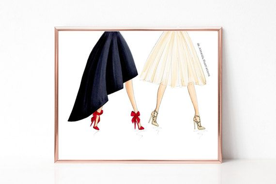 Pump strut, fashion illustration print, art print, sketch, croquis,