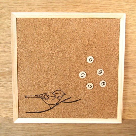 love the wood burning on cork boards idea