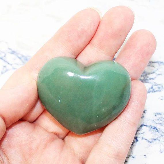 Green Aventurine Crystal Heart, Carved Crystal Aventurine Heart 44mm 52g