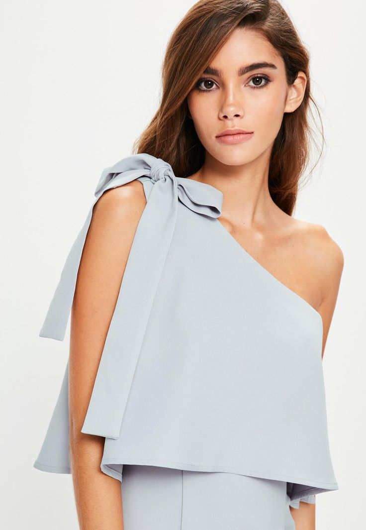 Missguided - Grey Crepe One Shoulder Bow Sleeve Midi Dress