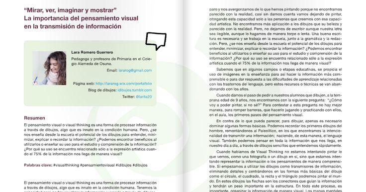 Lara Romero( @larita20 ) comparte un artículo que nos ayuda un poco más a aprender sobre cómo enfocar nuestra práctica del #visualthinkin...