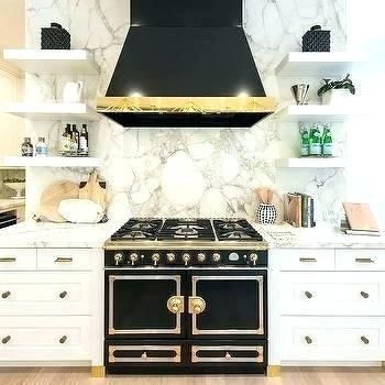 Best Black French Stove With White Shaker Cabinetry Kitchen 640 x 480
