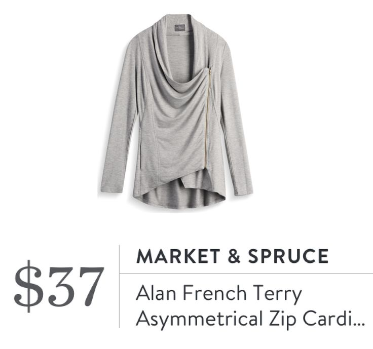 Market & Spruce Alan French Terry Asymmetrical Zip Cardigan