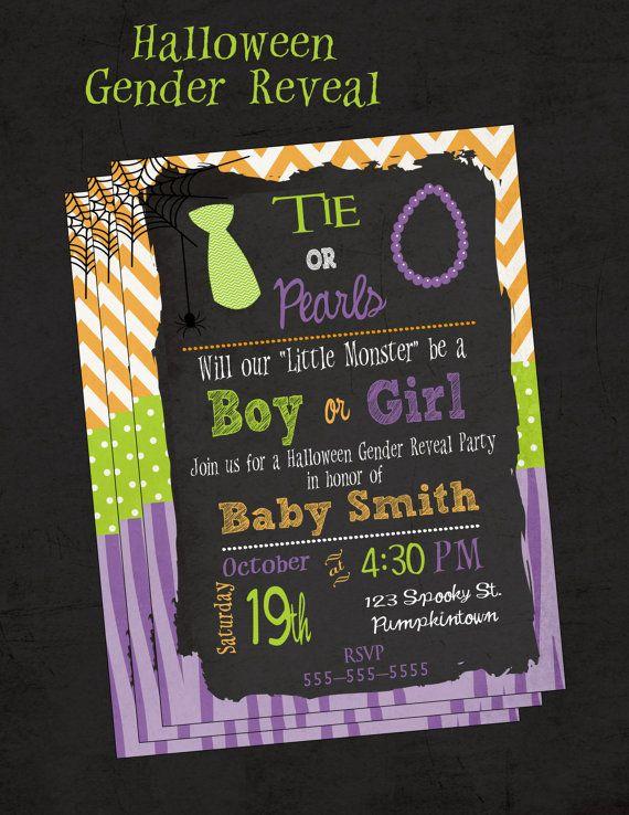 Gender Reveal Invitation Ties and Pearls Halloween by DaxyLuu, $15.00