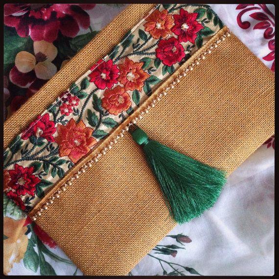 Embrague floral, étnico embrague, embrague bohemio, bolso étnico, las mujeres…