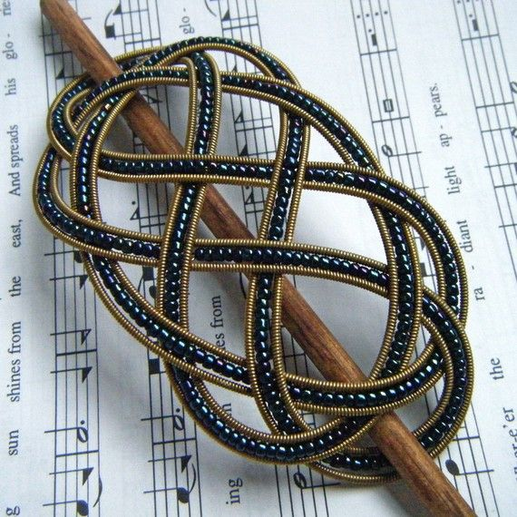 navy and gold beaded guitar string barrette medium handmade jewelry hair barrettes and sailor. Black Bedroom Furniture Sets. Home Design Ideas