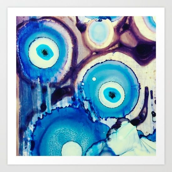 evil eye ink art watercolor bohemian blue  painting wall art home decor