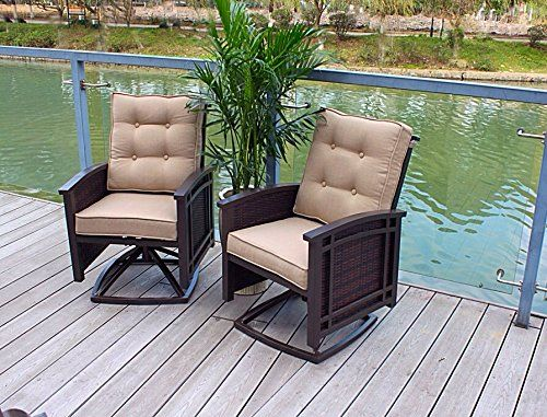 "Set of 2 Cushioned Rocking Aluminum Swivel Dining Chairs. 2 Swivel Cushioned Rocking Patio Chairs :. Cushions are UV, Mold, and Water Resistant. Frame Color: Brown Mocha. Rust Proof Aluminum Frame. 30"" x 26"" x 37""."