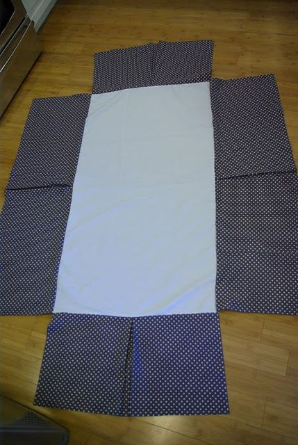 Make your own CRIB SKIRT. This could match crib sheets and/or quilt.  I like this one due to its simple lines. This skirt is made to just touch the floor when the mattress is on the lowest setting.
