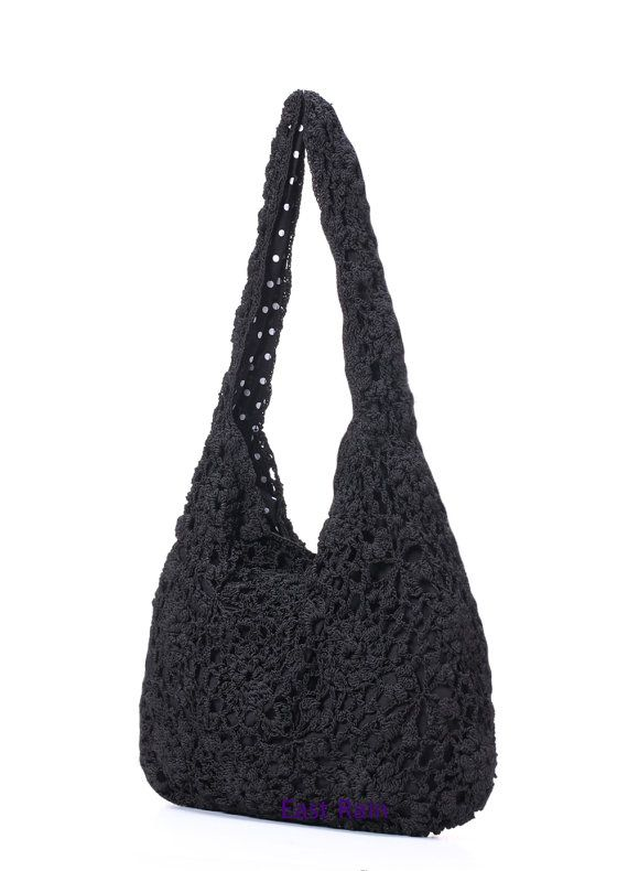 crochet crochet bag beach bag black shoulder shoulder by EastRain