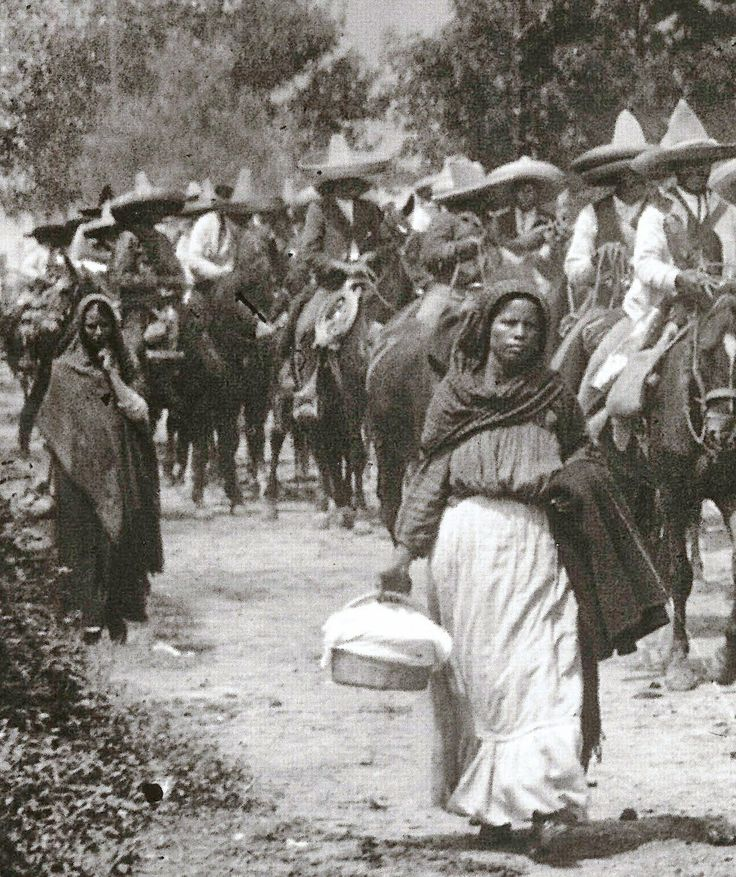 Women following their men into battle during the Mexican Revolution.