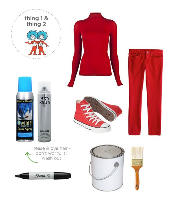 Halloween costume - Thing 1 and Thing 2 Ideas for Halloween - last minute costume ideas halloween