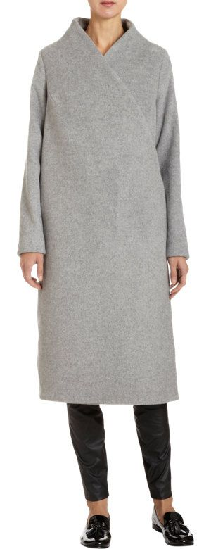 Wayne Hyperion Coat at Barneys.com - Wool felt mélange blend crossover v-neck oversize a-line coat with button front closure and center back vent. Available in Heather Grey. Made in U.S