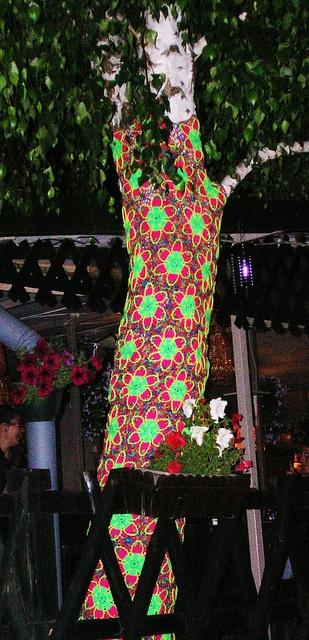 Psychedelic Glow In The Dark Yellow Flowers Crochet Tree #crochet #tree #rainbow #flower #yarnbombing