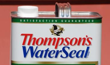 Gallon can of Thompson's WaterSeal. I used Thompson's WaterSeal on my pressure-treated decking. - David Beaulieu