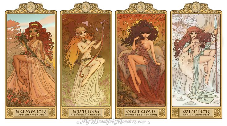 The completed set:  Summer - Leetah Spring - Nightfall Autumn - Moonshade Winter - Kahvi  Characters from Wendy Pini's ElfQuest Inspired by Alphonse Mucha's The Seasons  MyBeautifulMonsters – www.mybeautifulmonsters.com/  ElfQuest Art Nouveau Seasons by MyBeautifulMonsters.deviantart.com on @DeviantArt