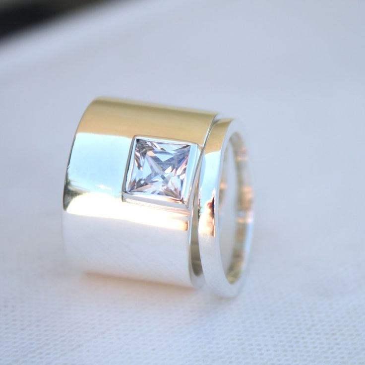 unique womens wedding rings edgy statement sterling ring square stone ring bespoke wedding set bold engagement ring. $169.00, via Etsy.