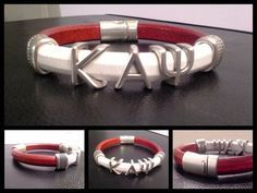 Divine 9 KAPPA ALPHA PSI Greek Letter silver slider Fraternity Bracelet Leather on Etsy, $30.00
